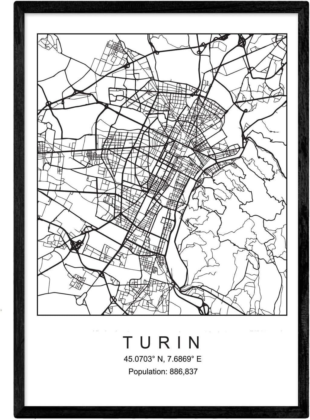 Nacnic Lámina Mapa de la Ciudad Turin Estilo nordico en Blanco y ...