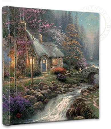 Thomas Kinkade Twilight Cottage 14 X 14 Canvas Wrap Amazon Co Uk Kitchen Home