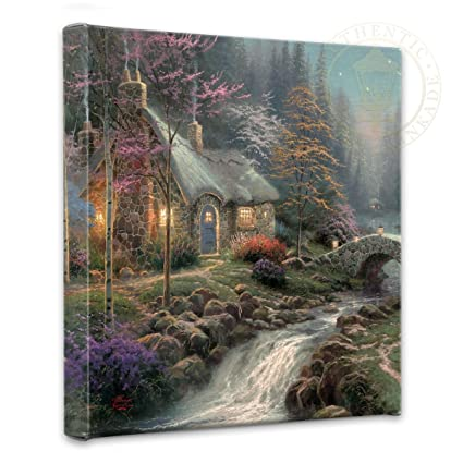 Astonishing Thomas Kinkade Twilight Cottage 14 X 14 Gallery Wrapped Canvas Home Interior And Landscaping Ologienasavecom