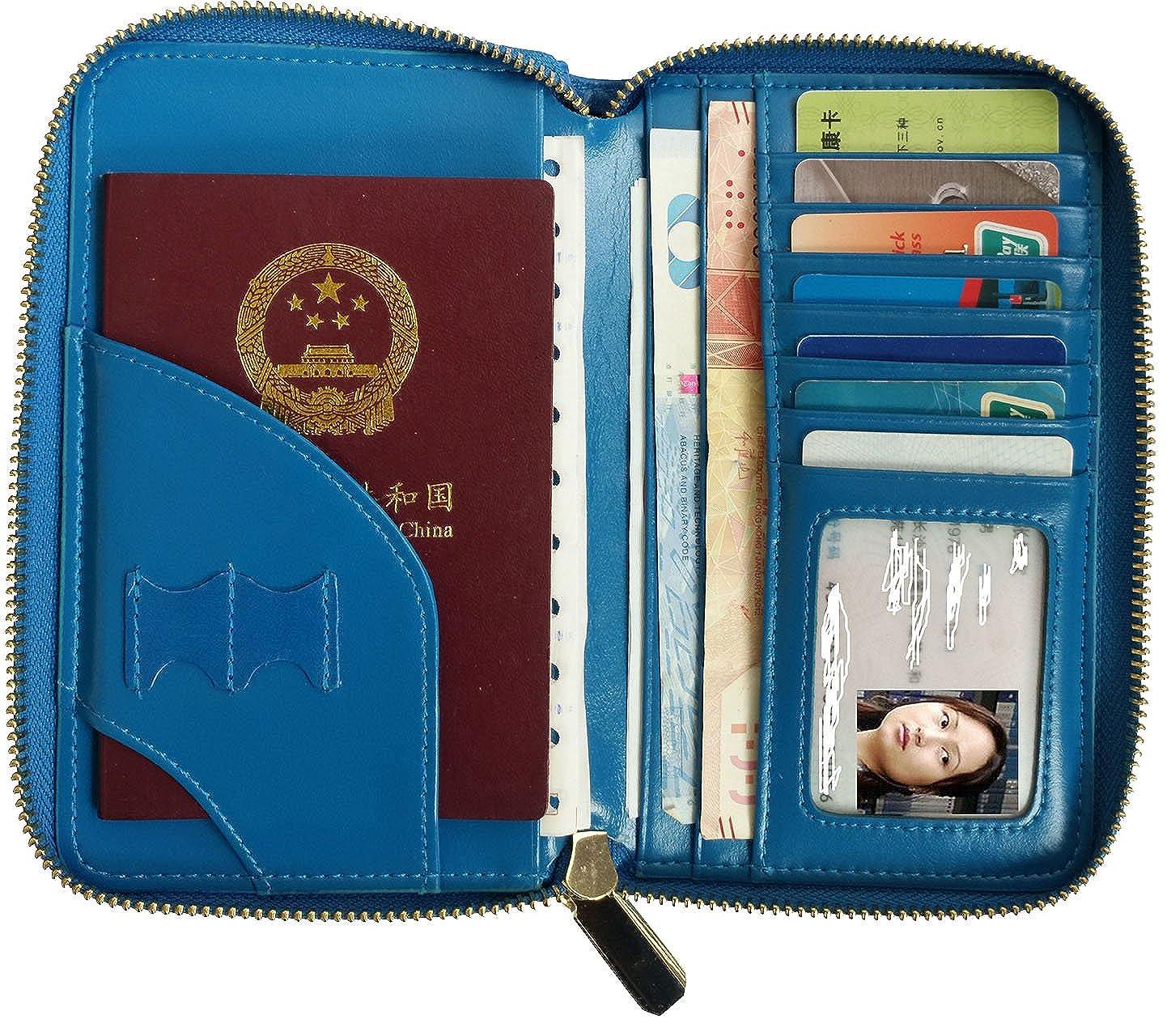 56c769ed8fe Amazon.com  Women RFID Blocking Genuine Leather Passport Cover ...