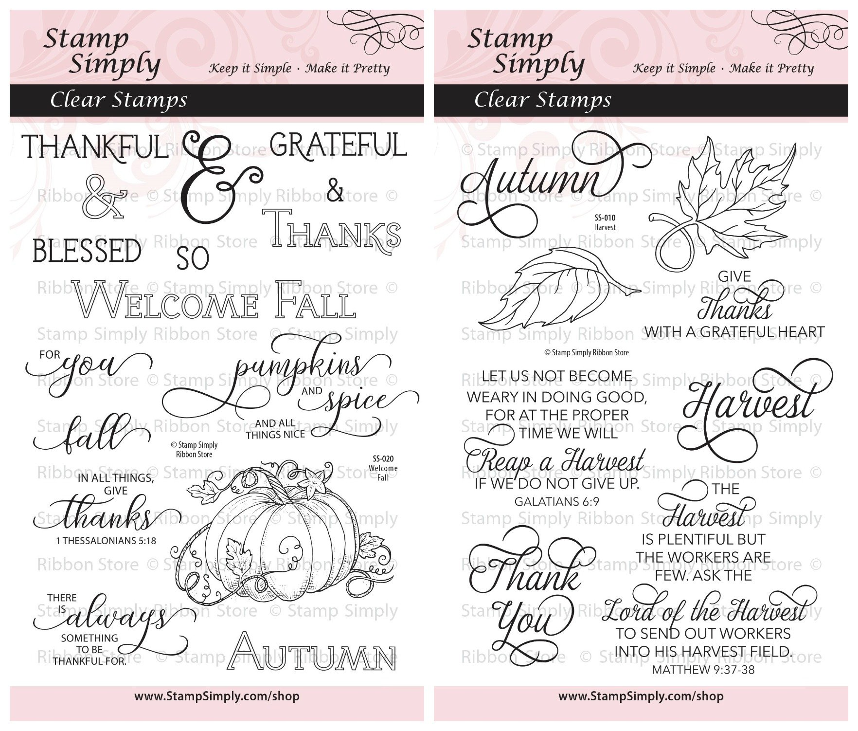 Stamp Simply Clear Stamps Thanksgiving Welcome Fall and Harvest Christian Religious (2-Pack) 4x6 Inch Sheets - 24 Pieces by Stamp Simply Clear Stamps