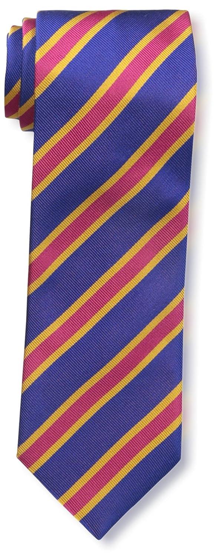 J.McLaughlin Mens Diagonal Striped Silk Tie Navy//Red//Gold