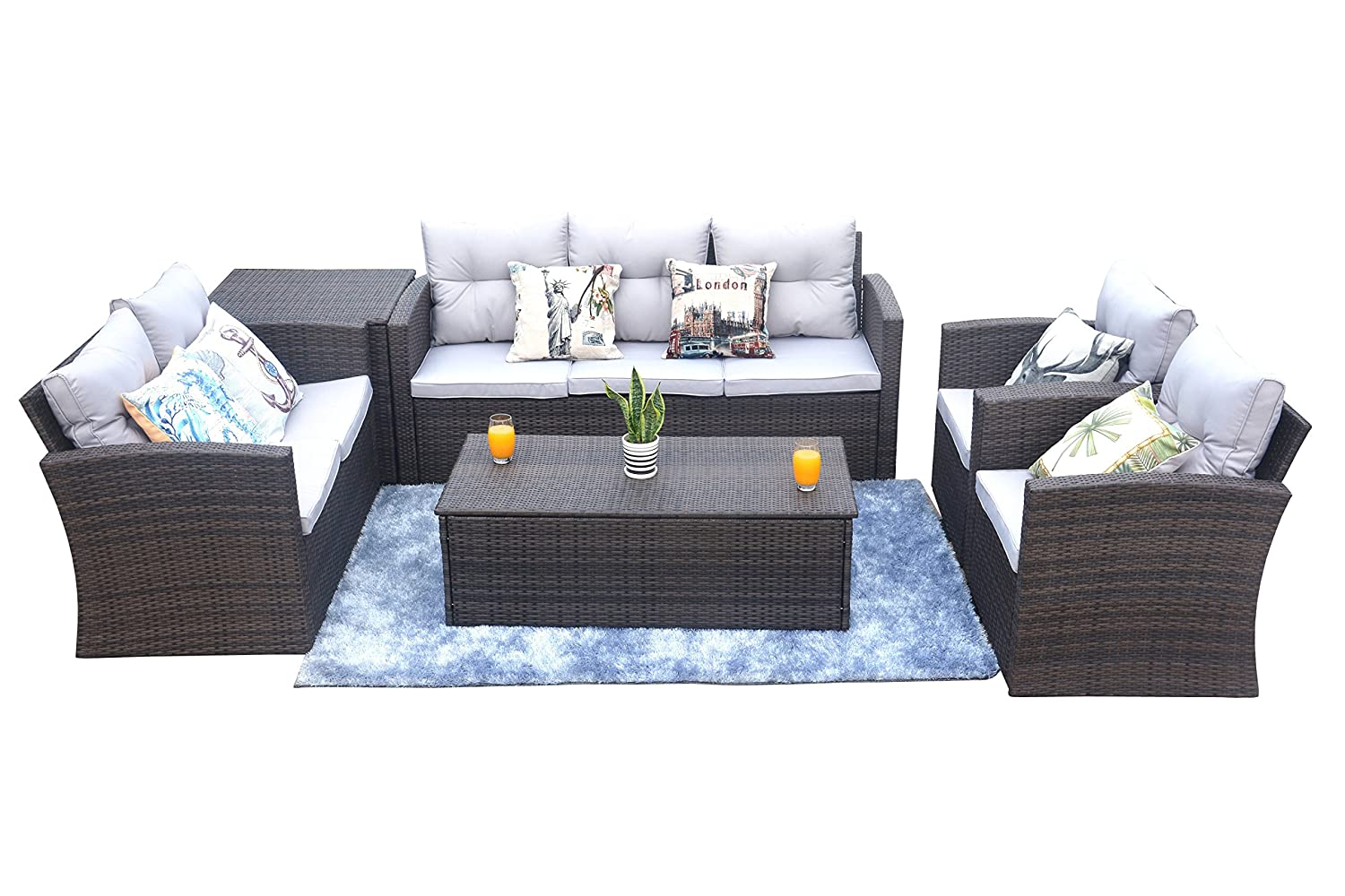 Amazon com direct wicker patio furniture 6 piece outdoor wicker sectional sofa set with wicker storage box and storage coffee table garden outdoor