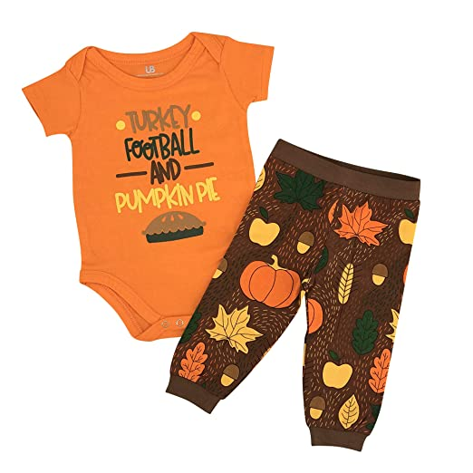 3d9f6a6e1 Unique Baby Boys Turkey Football Pie My 1st Thanksgiving Outfit (Newborn)  Brown