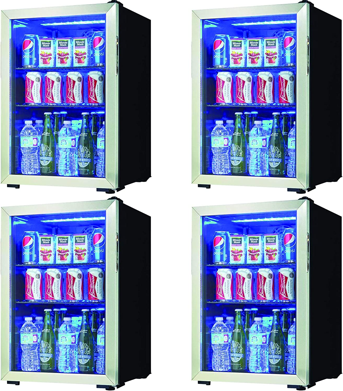 yangshil Can Free Standing Beverage Center Mini Fridge w/Glass Door (4 Pack)