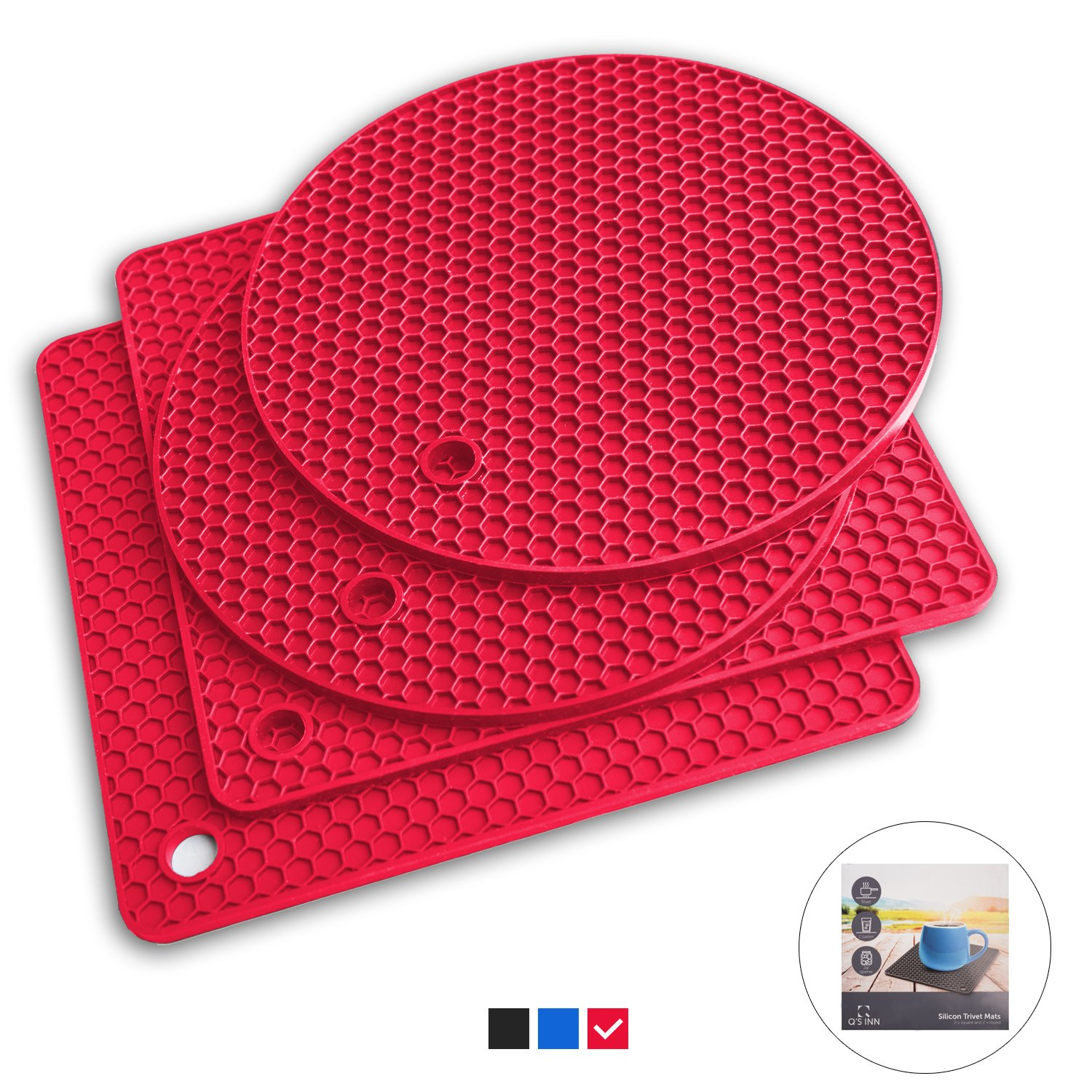 Q's INN Silicone Trivet Mats | Hot Pot Holders | Drying Mat. Our 7 in 1 Multi-Purpose Kitchen Tool is Heat Resistant to 440°F, Non-slip,durable, flexible easy to wash and dry and Contains 4 pcs. by Q's INN (Image #1)