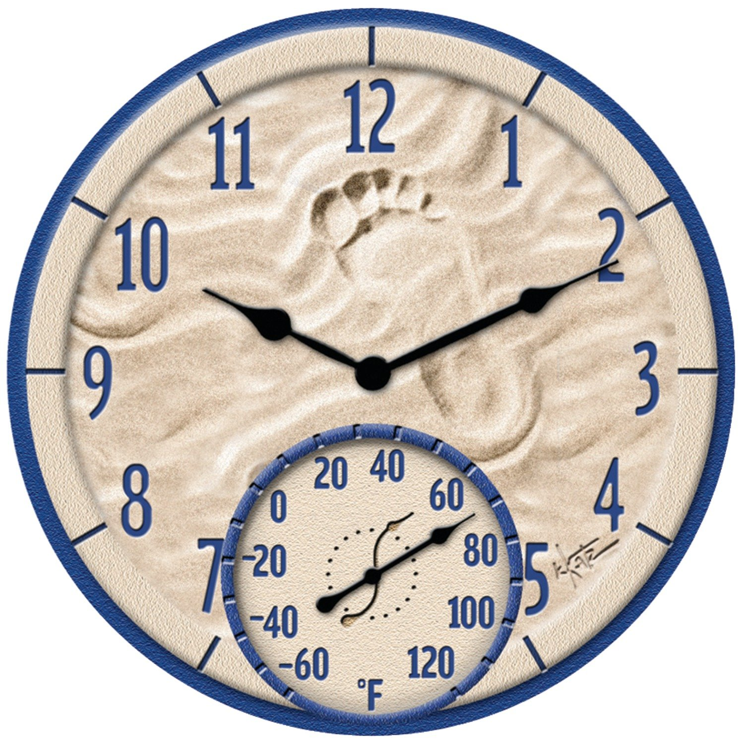 Aromzen 14'' by The Sea Poly Resin Clock with Thermometer