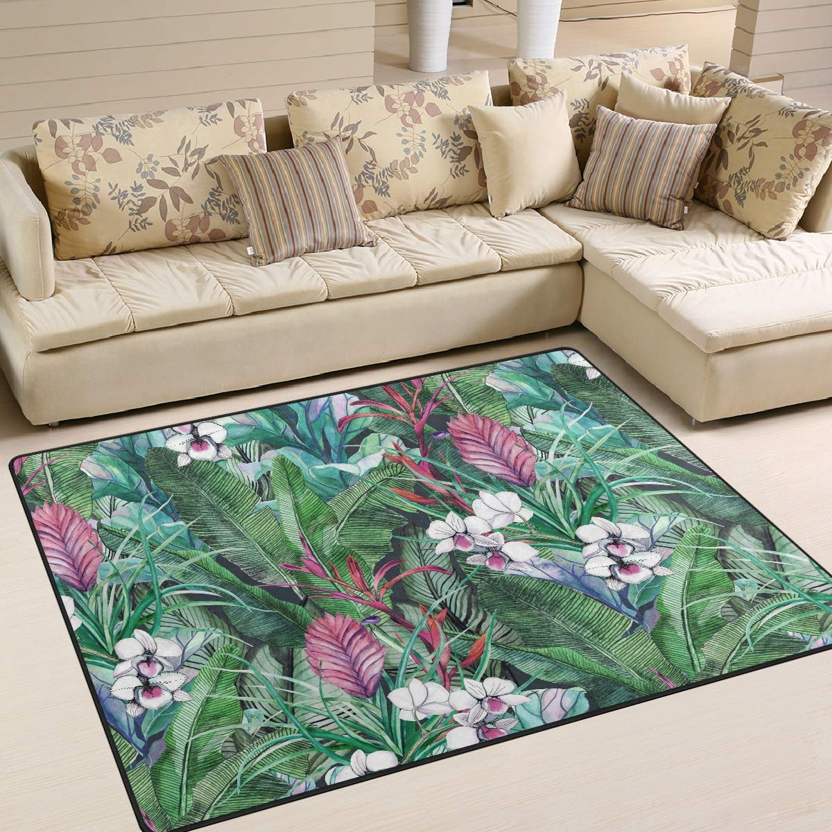 Floral Print Indoor//Outdoor Rug Purple E by design RFN485PU5-35 Vacation 3 x 5