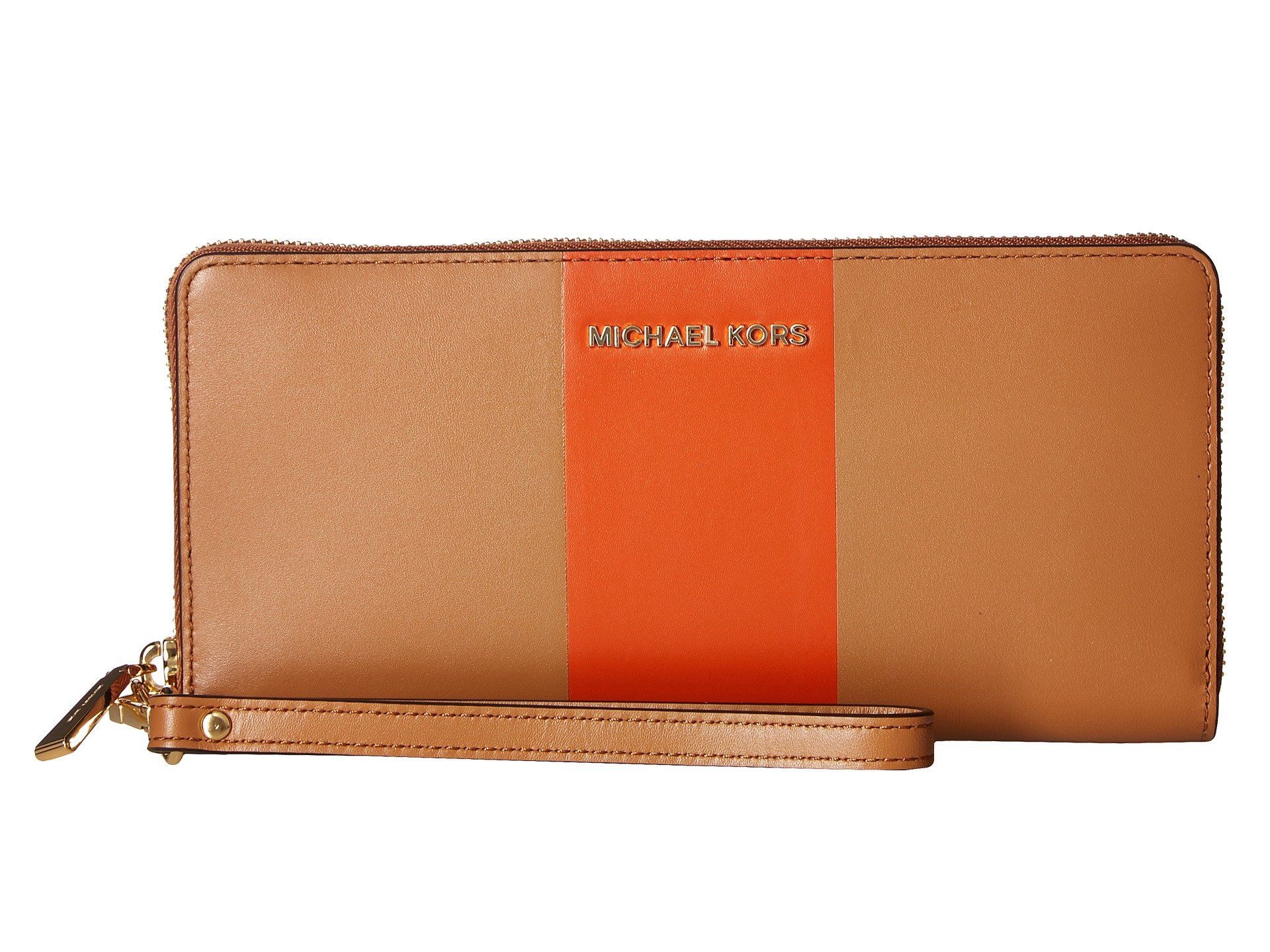 MICHAEL Michael Kors Jet Set Travel Striped Continental Wallet, Acorn/Orange