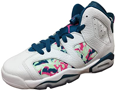 low priced 50a63 ccd63 Air Jordan Retro 6 quot Green Abyss White Laser Fuchsia (GS) (4.5