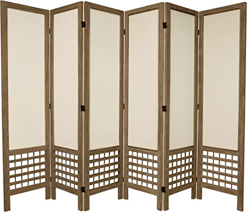 Oriental Furniture 5 1 2 ft. Tall Open Lattice Fabric Room Divider – Burnt Grey – 6 Panel