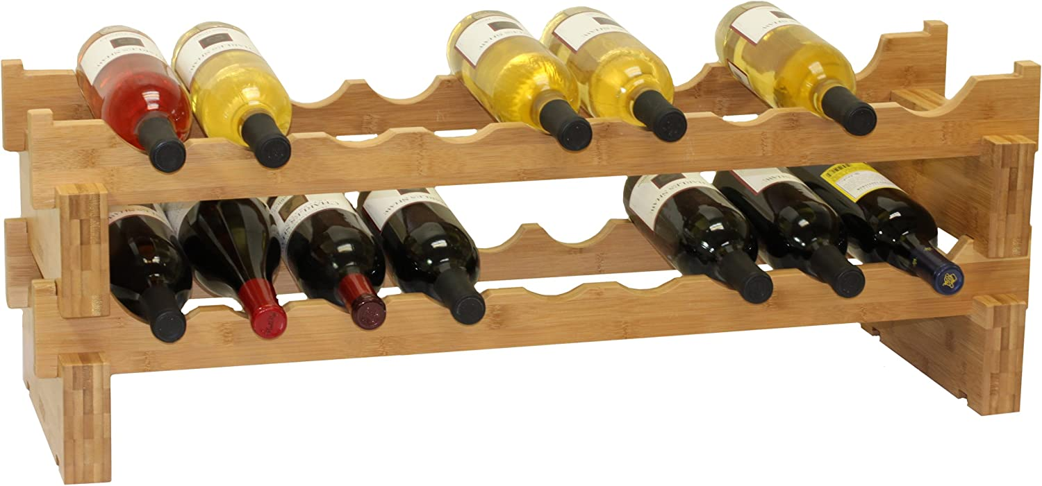 18-Bottle Stackable Bamboo Wine Rack