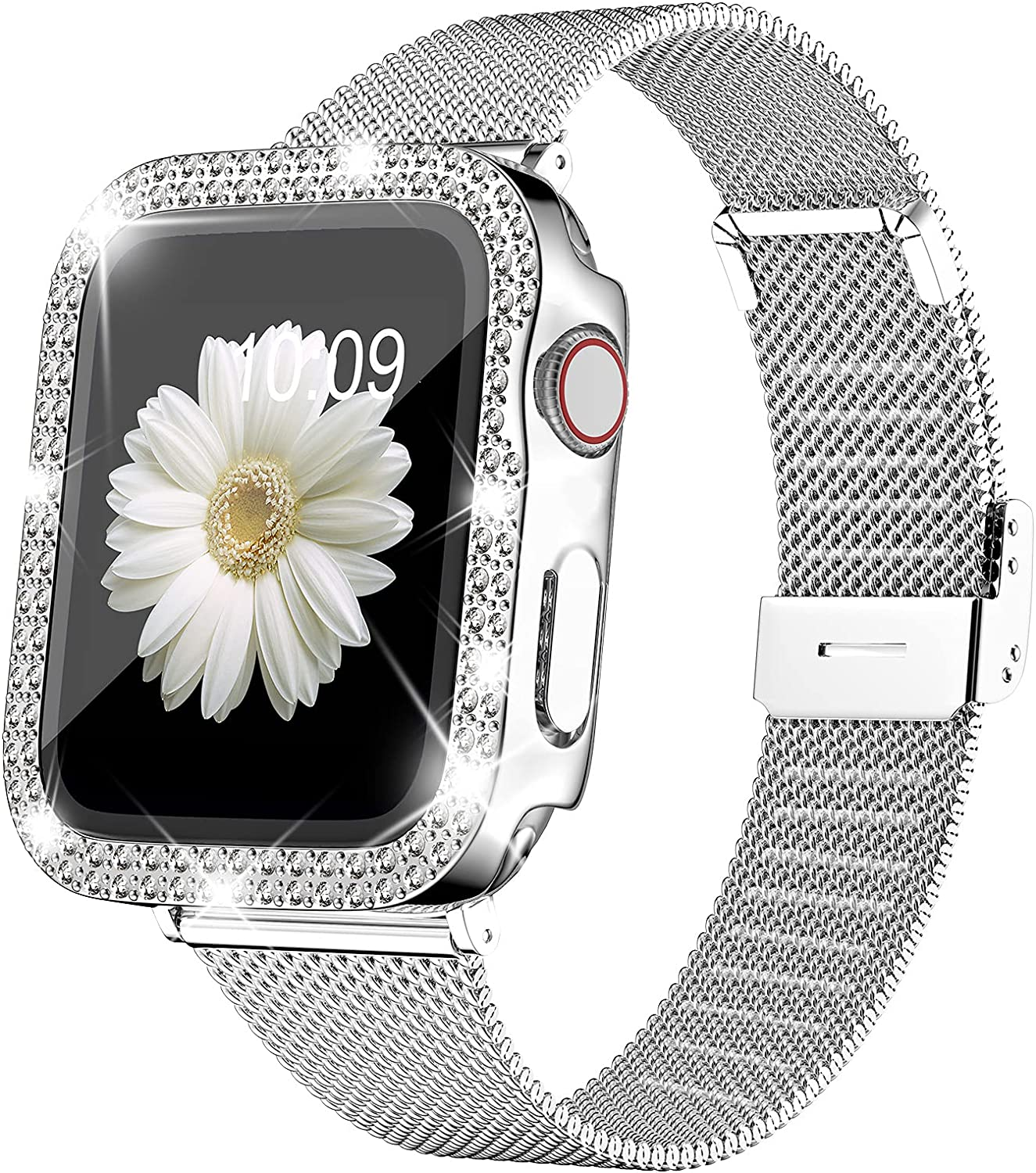 DABAOZA Compatible for Apple Watch Band 38mm 42mm and Case with Screen Protector , Women Stainless Steel Metal Slim Replacement Loop Mesh Strap for iWatch Band Series 3/2/1