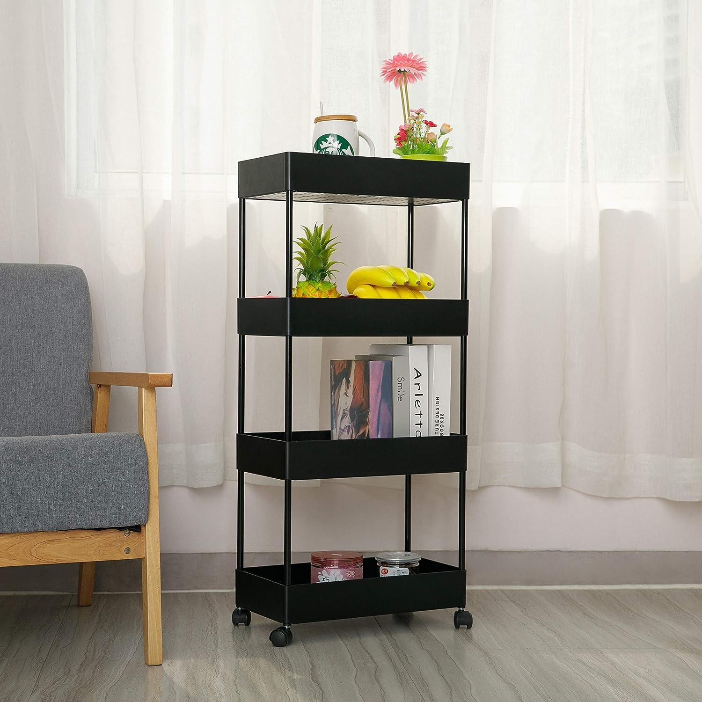 biblioth/èque blanc Bigzzia Chariot de rangement de cuisine avec 4 /étages avec roues mobiles Multifonction Panier en maille pour bureau