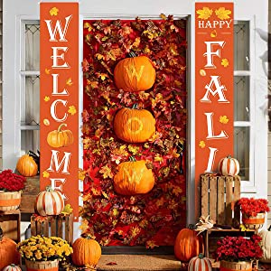 PAIVSUN Welcome Fall Decor Front Door Porch Sign - Autumn Pumpkin Thanksgiving Decorations Outdoor Large Hanging Banner for Home Yard Garden Fall Party