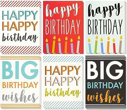 Amazon.com: 12 pack jumbo grandes Feliz cumpleaños Tarjetas ...