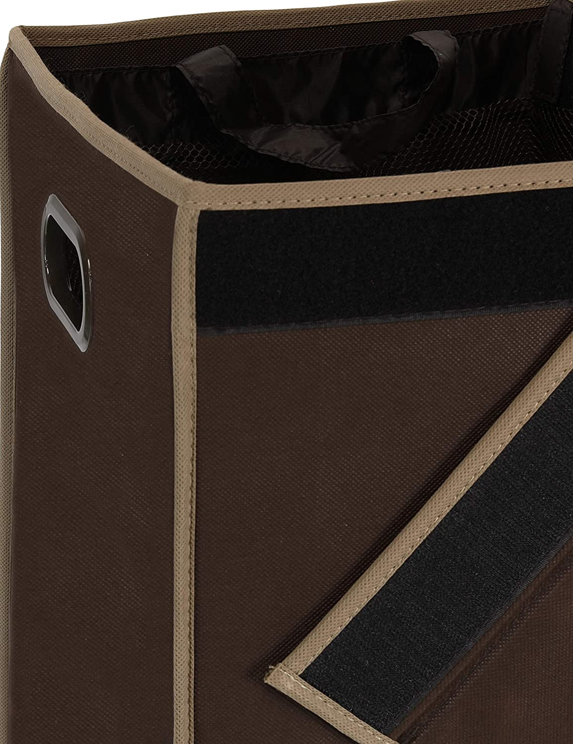 Brown Simplehouseware Double Laundry Hamper with Lid and Removable Laundry Bags