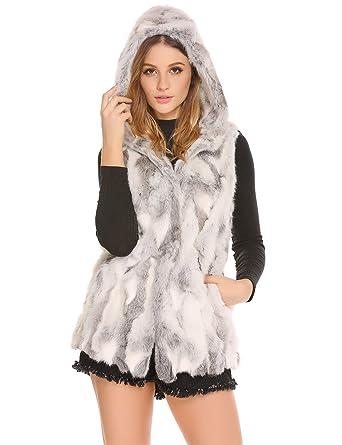 new product 9fa69 2ce50 AIMADO Damen Winter Elegant Weste Pelz mit Kapuze ärmellose lange Mantel  Fell Weste Oberbekleidung