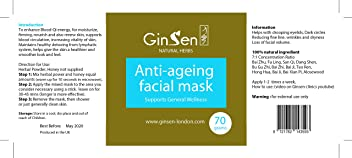 Anti-Ageing Facial Mask by Ginsen | 100% Natural Herbal | Help Reduce Wrinkles and Fine Line | Reduce Dark Eye Circles | Help Dry Skin Condition | Help Moisturise Your Skin | Help Water Retention