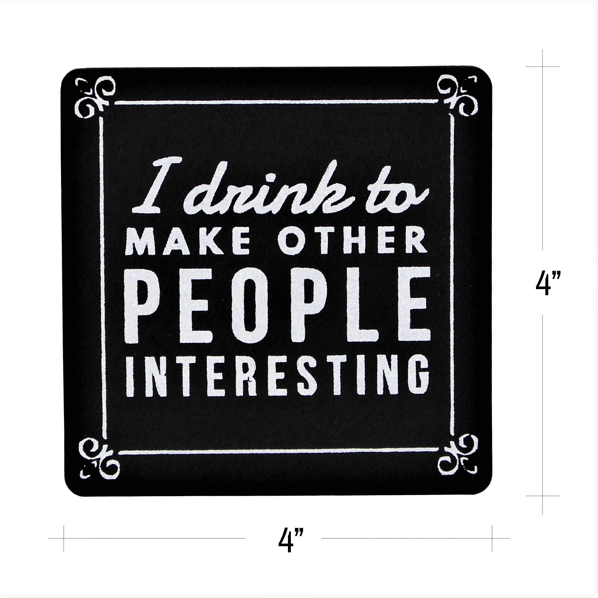 Summit One Funny Wine Quote Felt Coasters, Set of 10 (4 x 4 Inch, 5mm Thick) Premium Absorbent Felt Drink Coasters with Hilarious Wine Quotes - Unique Wine Gifts for Women - With Coaster Holder