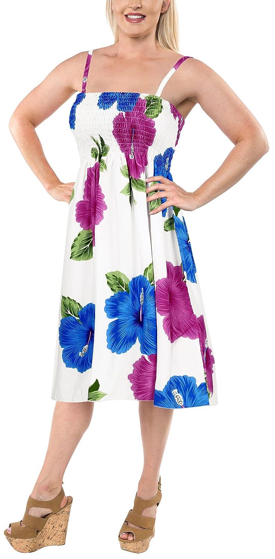 LA LEELA Tubo Corto Vestido de Encubrimiento Correa de Traje de baño de la Playa hasta la Rodilla elásticas Flores de Hibisco de la Mujer Blanca Azul Rosa: ...