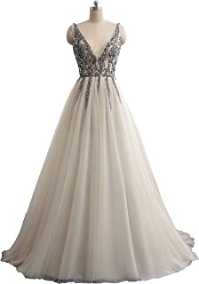 a473dc851f OkayBridal Okaybrial Women s Evening Dresses For Women See Though Top Deep  V Neck Tulle Sexy Formal