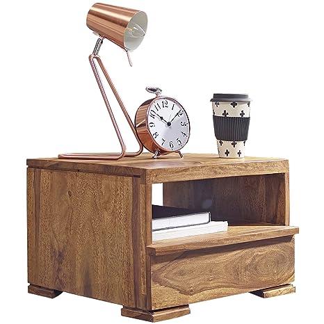 WOHNLING Nachttisch Massiv-Holz Sheesham Nacht-Kommode 30 cm 1 Schublade  Ablage Nachtschrank Landhaus-Stil Echt-Holz Nachtköstchen dunkel-braun ...