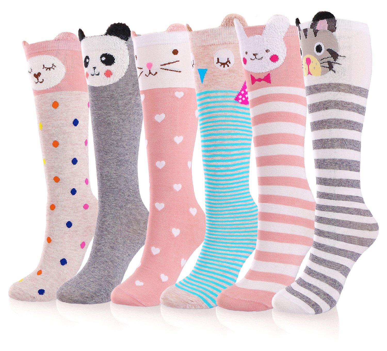 Girls Socks, 4/6 Pairs Cotton Over Calf Knee High Socks (Cartoon Animal Panda Cat Bear Fox)