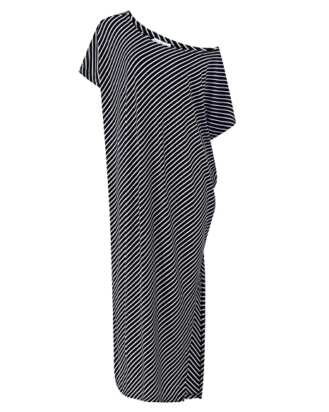 ... Womens Off Shoulder Dress, Summer Loose Striped 3/4 Sleeve Irregular Cocktail Party Evening Dress,Ladies Long Maxi Dress Kaftan: Amazon.co.uk: Clothing