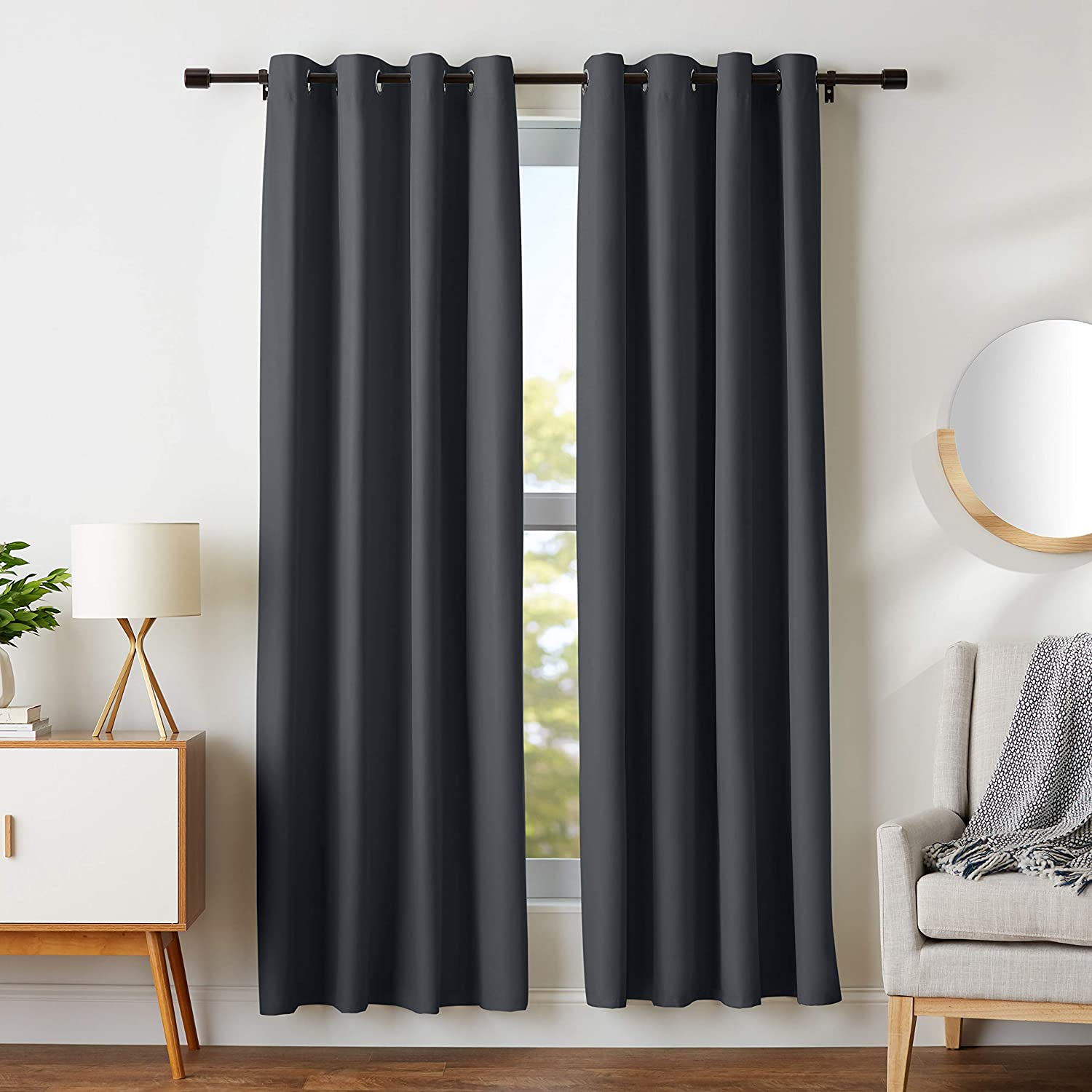 "AmazonBasics Room Darkening Blackout Window Curtains with Grommets- 52"" x 84"", Black, 2 Panels"