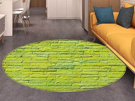 Tapis Rond Vert Citron Pastel Mur de Briques vibrantes Fond ...