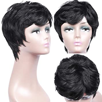 Amazon Com Armmu 8 100 Human Hair Short Curly Pixie Cut Wigs For