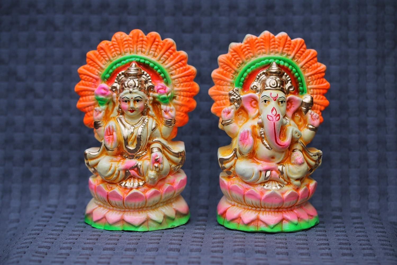 LAXMI GANESH Lakshmi Ganesha HANDMADE STATUE ON LOTUS HINDU GOD DIWALI PUJA EkPuja