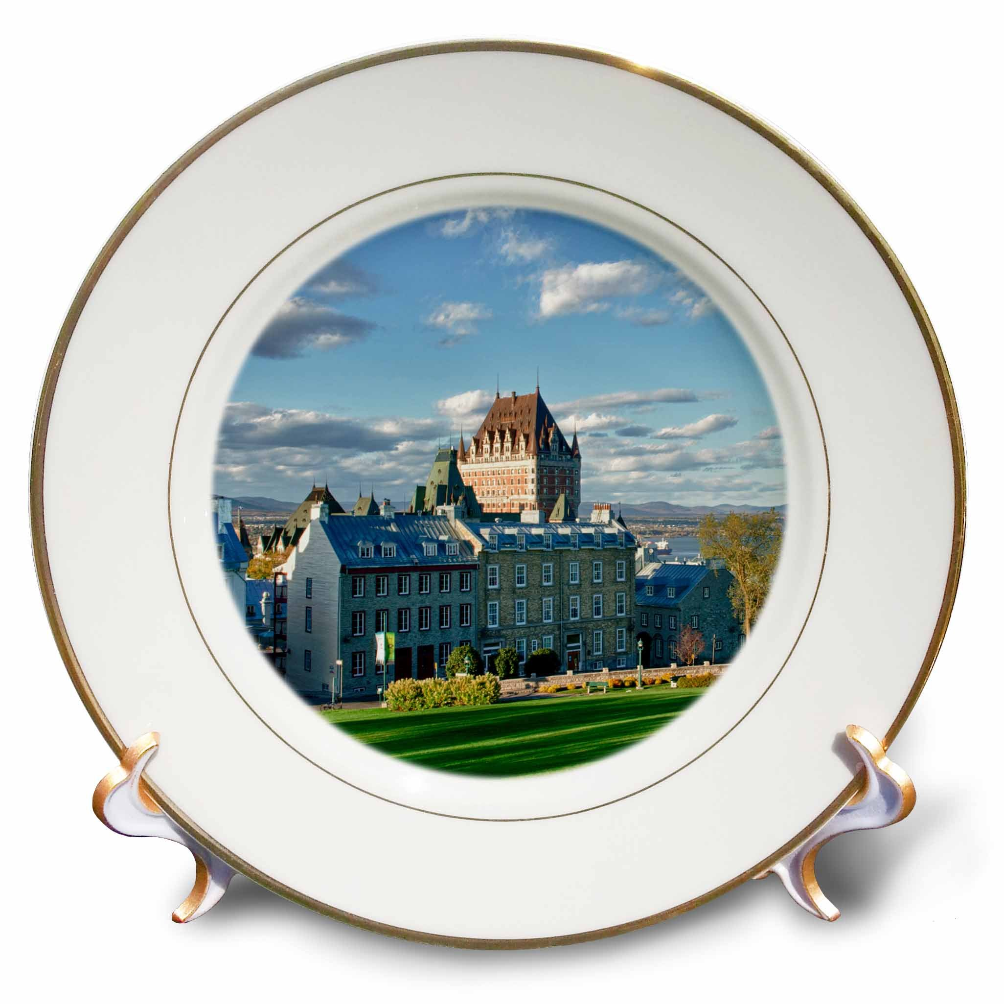 3dRose Canada, Quebec, City. The Chateau Frontenac Hotel. - Porcelain plate, 8-Inch (cp_205920_1)