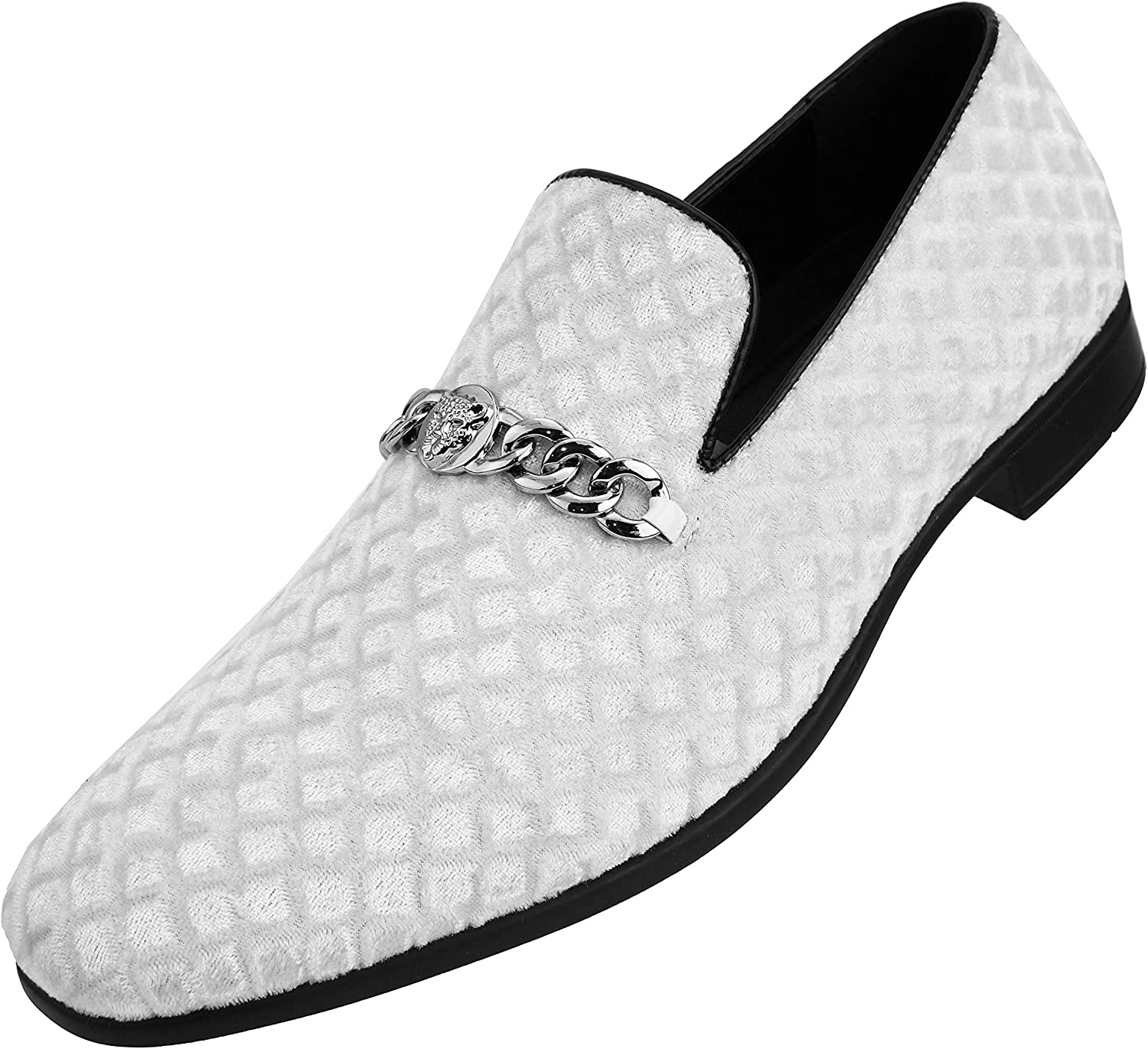 Amali The Original Mens Diamond Quilted Embossed Faux Velvet Slip On Loafer with Metal Chain Exotic Bit Dress Shoe Style Felix