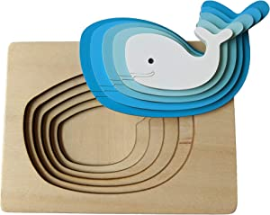 Toddler Puzzles and Toddler Toys Jigsaw Puzzles for Toddlers 3 Years Montessori Toys for Toddlers Wooden Stacking Children and Kids Toys 6 Pieces Includes 5 Layers and Wooden Box (Whale)