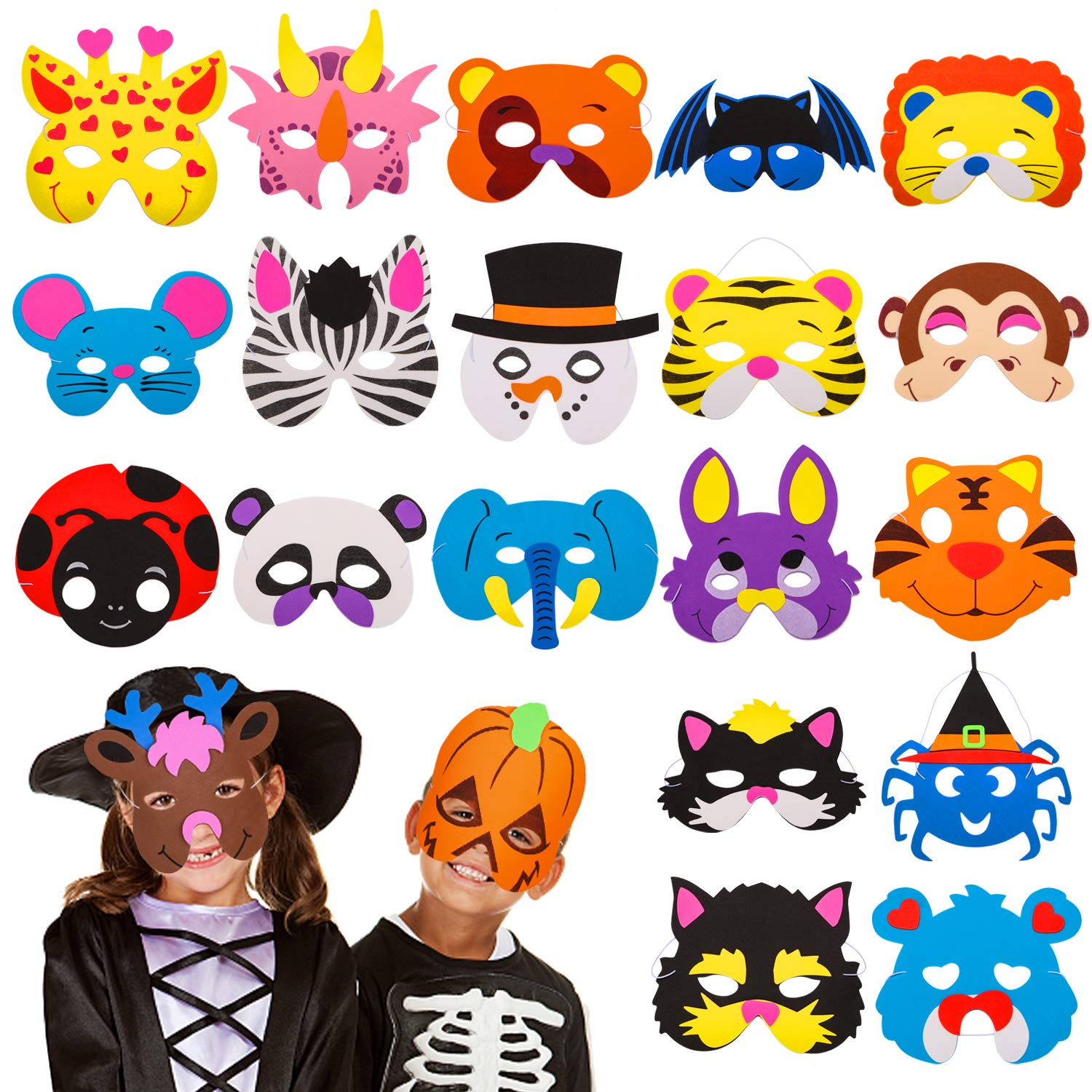 24 Pieces Foam DIY Animal Kids Masks for Christmas Birthday Party Favor Dress Up Animal Masks Birthday Goodie Bags for Kids