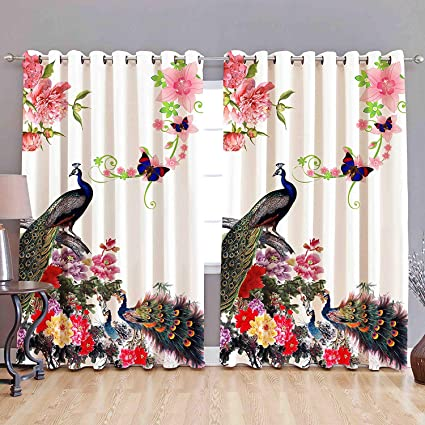Buy St Decor Store Knitting Fabric 3d Printed Curtain Red Set Of