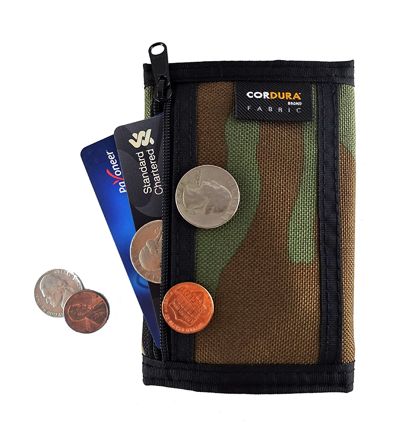 Rough Enough Small Mini Minimalist Travel Mens Front Pocket Wallet Card Holder Trifold Zipper Cash Bag Change Coin Purse Pouch Organizer with Party ...