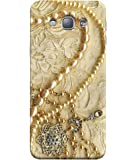 FUSON Printed Designer Back Case Cover for Samsung Galaxy A8 (2015) :: Samsung Galaxy A8 Duos (2015) :: Samsung Galaxy A8 A800F A800Y (Printed Pearls Diamonds Pendent Gold Hand Embroidery Stitches)