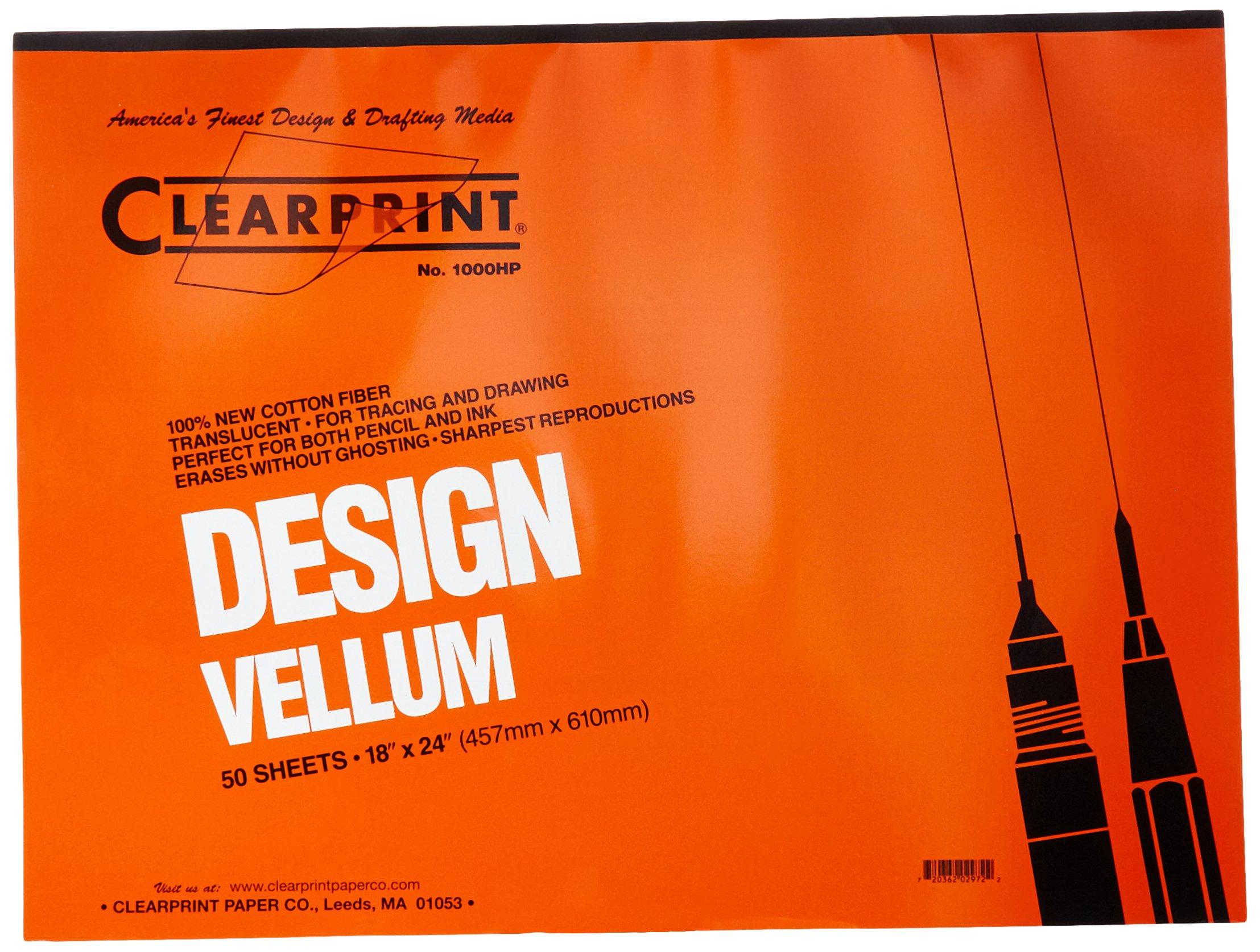Clearprint 1000H Design Vellum Pad, 16 lb, 100% Cotton, 18 x 24 Inches, 50 Sheets, Translucent White, 1 Each (10001422)