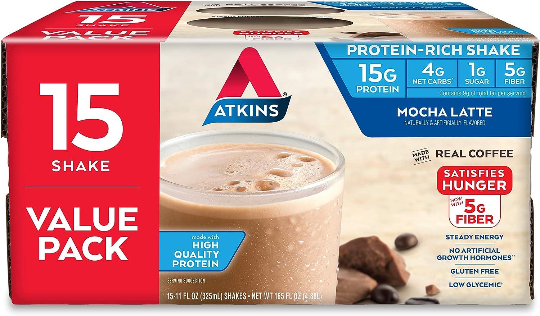 Atkins Gluten Free Protein-Rich Shake, Mocha Latte, Keto Friendly, 15 Count: Health & Personal Care