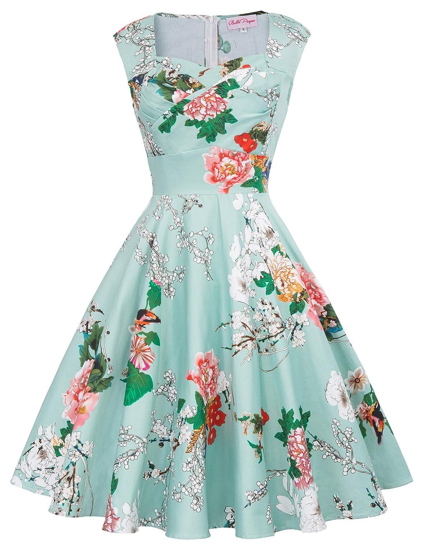 b8c03d9e19 Belle Poque 50s Style Vintage Dresses Sweetheart Neck BP105 (Multi-Colored)  at Amazon Women s Clothing store
