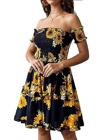 edf2c35e33ae Murimia Womens Summer Strapless Off Shoulder Floral Print Beach Mini Dress  at Amazon Women s Clothing store