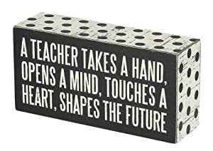 """Primitives by Kathy 21495 Polka Dot Trimmed Box Sign, 3"""" x 6"""", A Teacher Shapes the Future"""