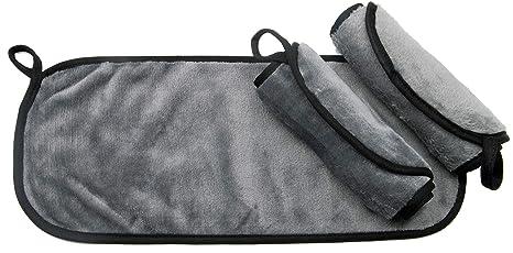 ZOLLNER24 3 toallas desmaquillantes reutilizables, 40x18 cm, microfibra, gris