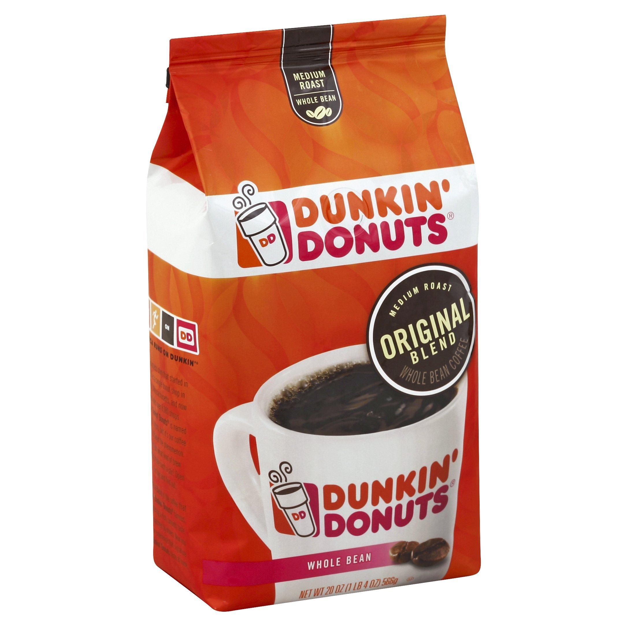 Dunkin' Donuts Original Blend Whole Bean Coffee, Medium Roast, 20 Ounces (Pack of 6)