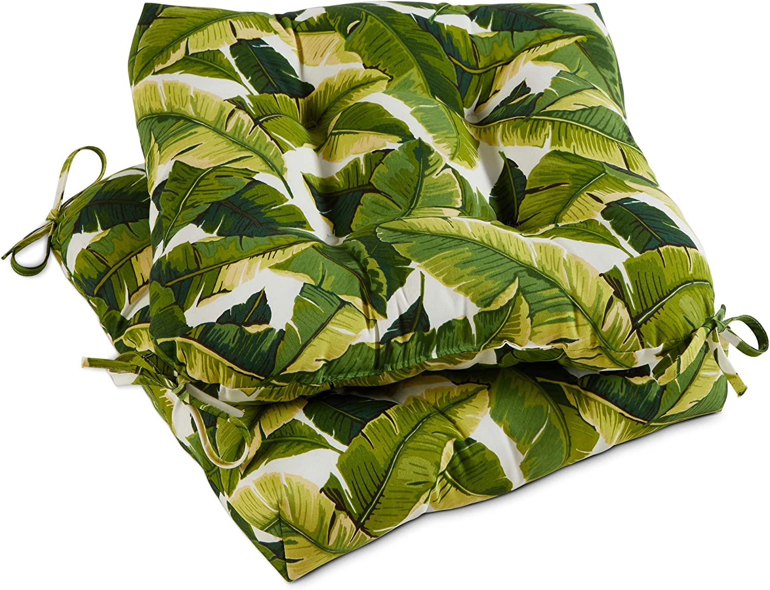 South Pine Porch AM6800S2-Palm-White Palm Leaves White Outdoor 20-inch Seat Cushion, Set of 2