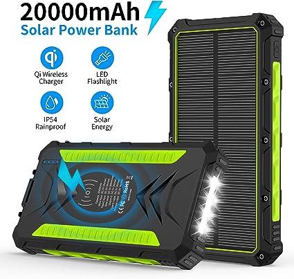 Amazon.com: Cargador solar, 20000mAh Qi Wireless Power Bank ...