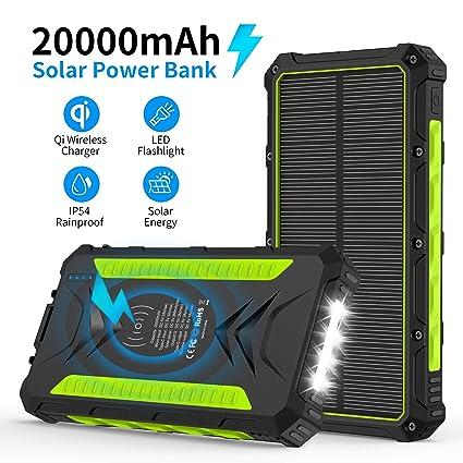 Amazon.com: Cargador solar, 20000mAh Qi banco de energía ...
